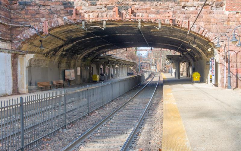 Borough of Glen Ridge, New Jersey, NJ train tracks short tunnel or bridge.