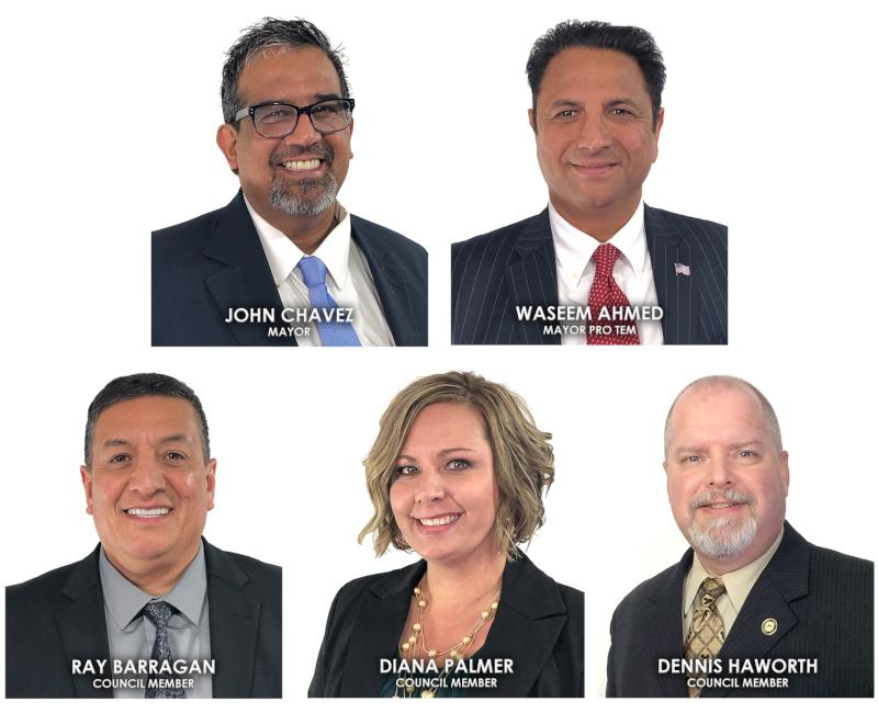 Chowchilla, California, CA, 2019 city council. John Chavez, Mayor; Waseem Ahmed, Mayor Pro Tem; Ray Barragan, Council Member; Diana Palmer, Council Member; Dennis Haworth, Council Member.