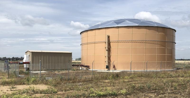 Chowchilla, California, CA water tank.