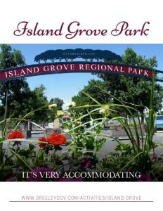 Island Grove Regional Park brochure cover.