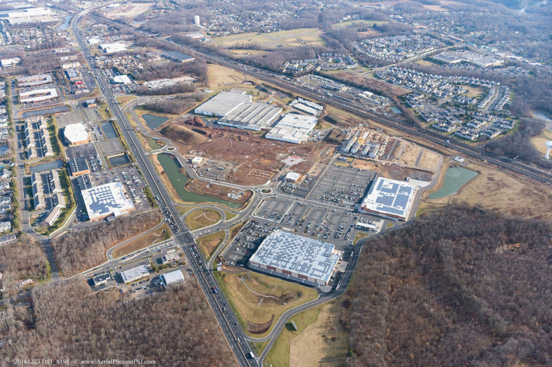 North Brunswick, New Jersey, NJ, aerial view of transit village.