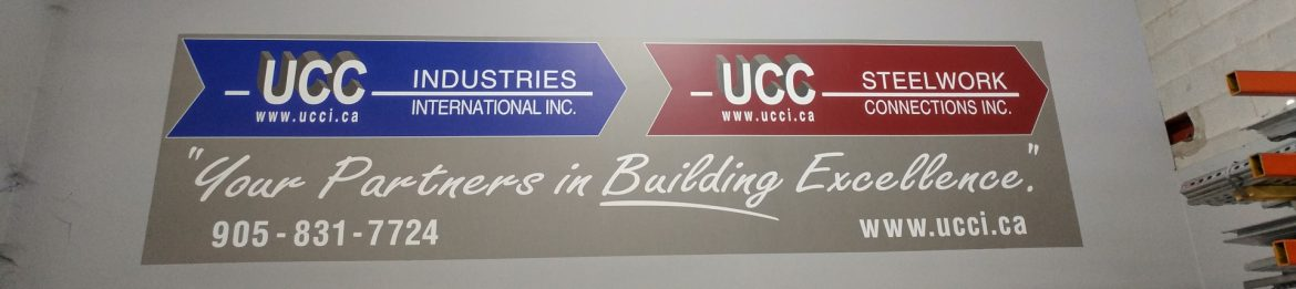 UCC Industries International Inc image showing a UCC Industries International sign next to one that says UCC Steelwork Connections Inc.
