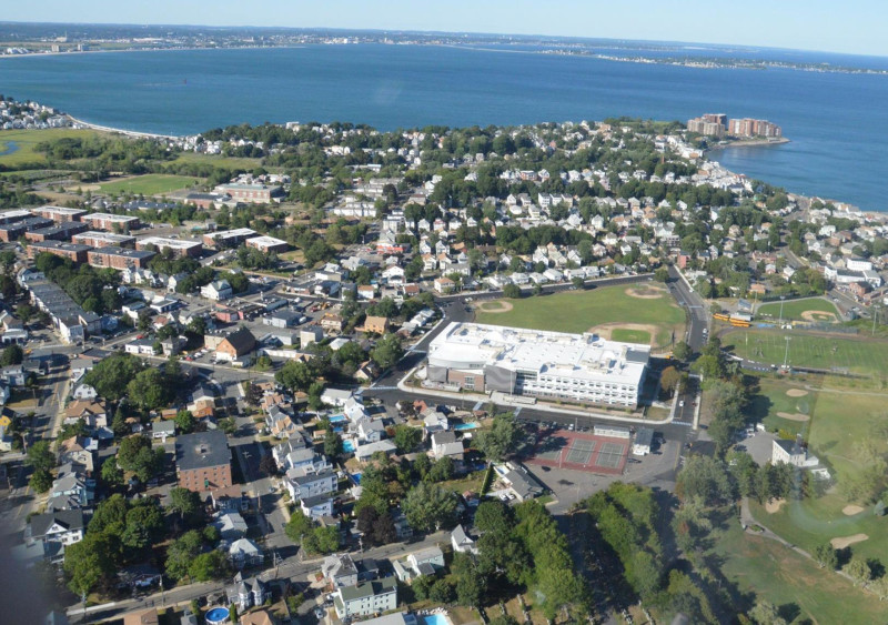 Winthrop, Massachusetts, MA aerial view of school.