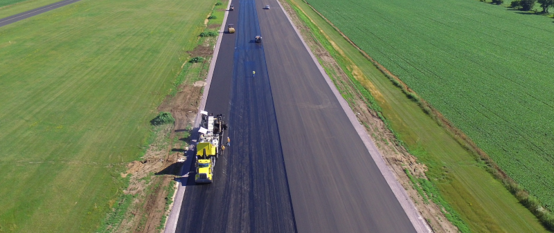 Baraboo-Wisconsin Dells Airport runway during repaving and reconstruction.