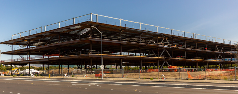 Dublin, California construction project with the basic support structure up.