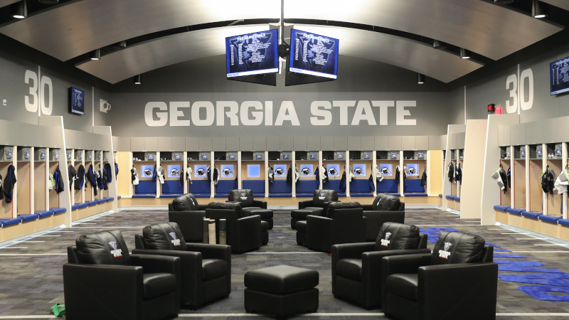 Georgia State Stadium Locker room interior. Photo by Jason Getz.
