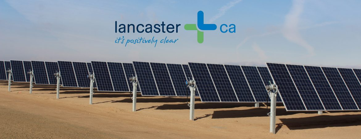 Lancaster, California solar farm with the city logo above.