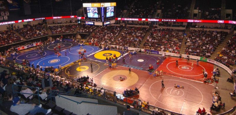 Rabobank Arena, Theater and Convention Center, view from top of the stands at multiple wrestling matches taking place.