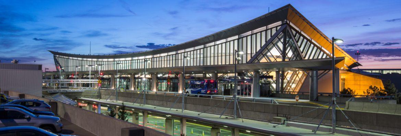 Buffalo Niagara International Airport front entrance looking from the garage.