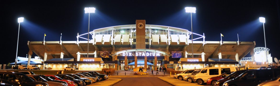DIX Stadium front entrance at night.