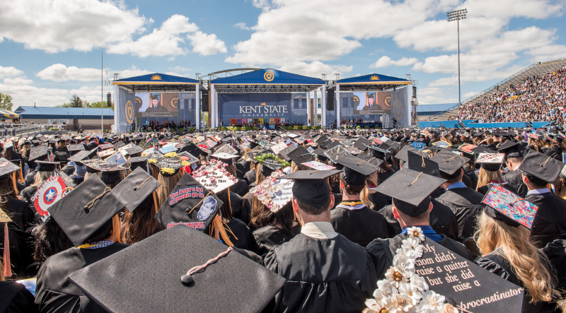 Dix Stadium hosting Kent State University graduation.