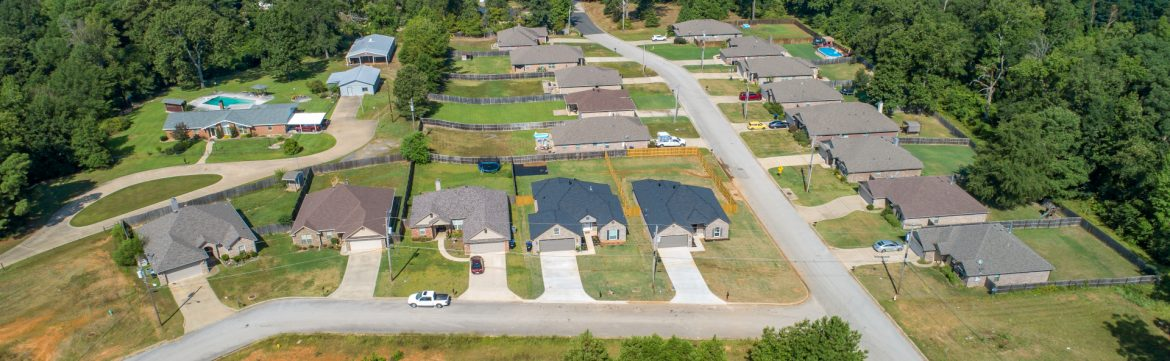 East Texas Homes aerial view of finished homes.
