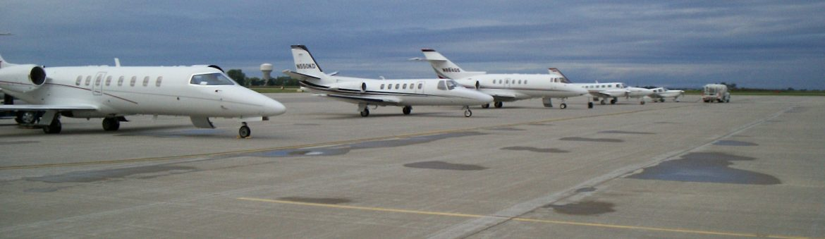 Huron Regional Airport, jets on the runway.