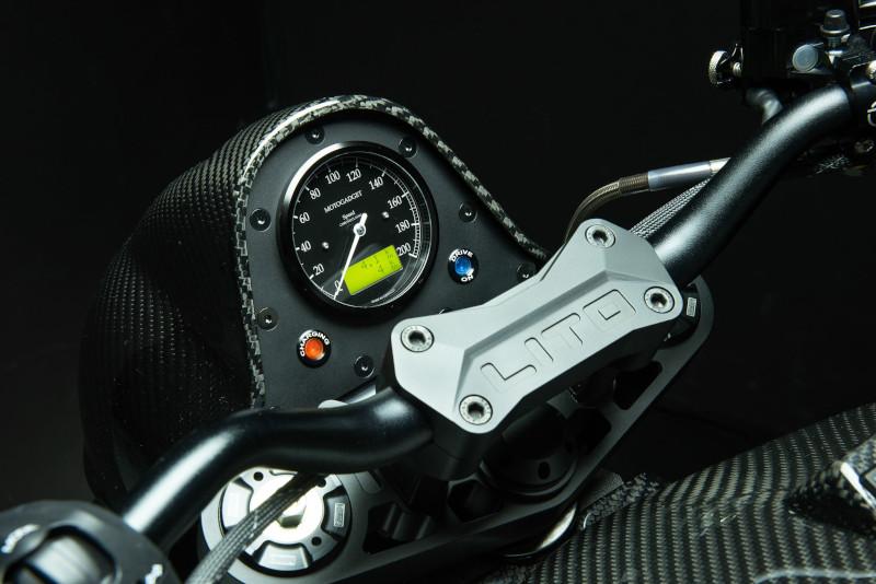LITO / Sora Motorcycles dash handlebars closeup.