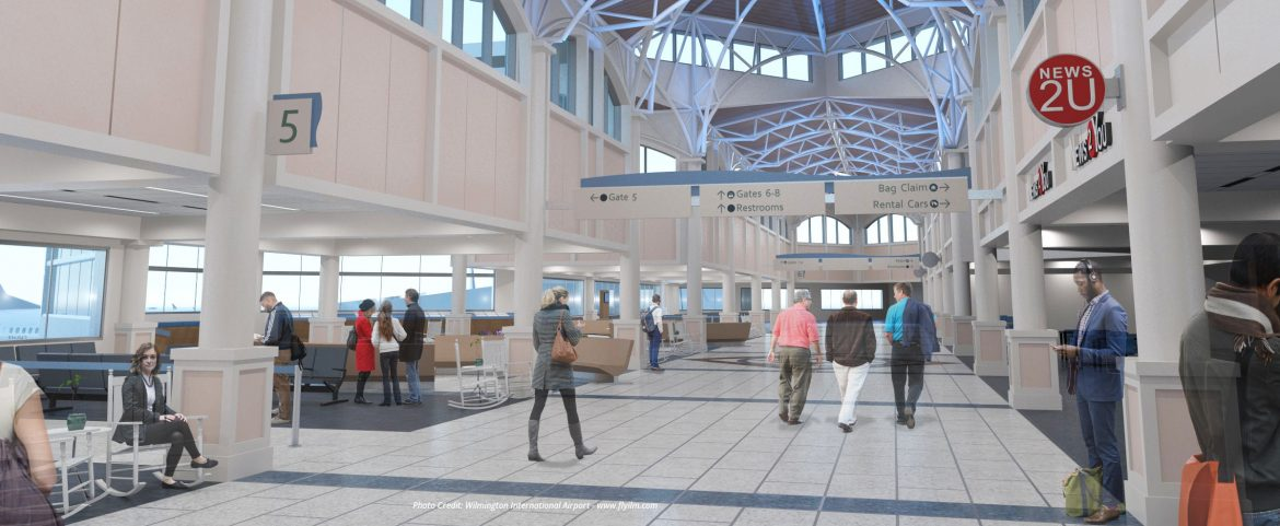 The Wilmington International Airport terminal expansion rendering of the gate area.