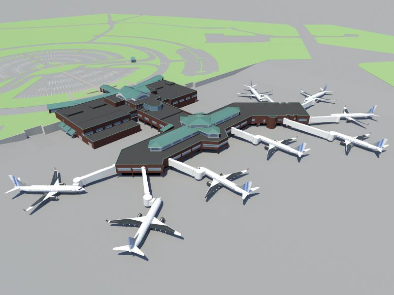 Wilmington International Airport ILM expansion rendering.