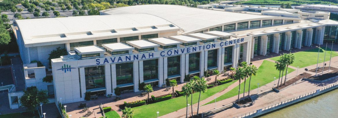 Savannah Convention Center, SCC, aerial view of the building.