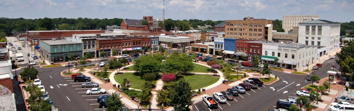 Gainesville, Georgia downtown square aerial view.