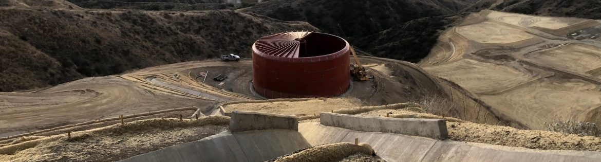 Paso Robles Tank example of work on a hillside, tank construction site.
