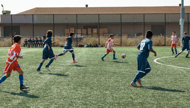 San Pablo, California kids playing soccer.