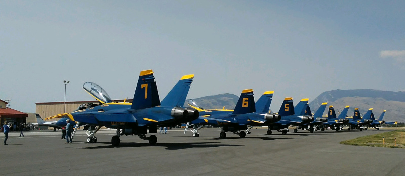 Yellowstone Regional Airport Cody Wyoming, blue angels lined up on the tarmac.