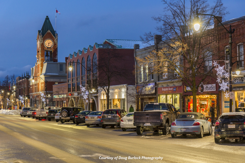 Collingwood, Ontario city street at night.