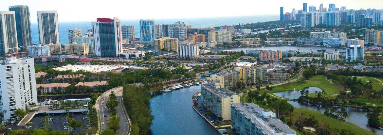 Hallandale Beach, Florida aerial.