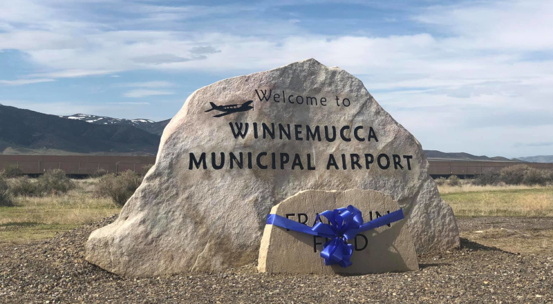 Winnemucca Municipal Airport rock sign.