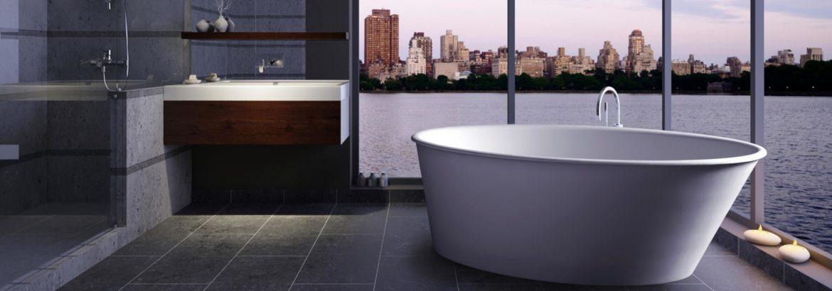 Clarke Products tub in a room with open windows overlooking water and a city skyline.