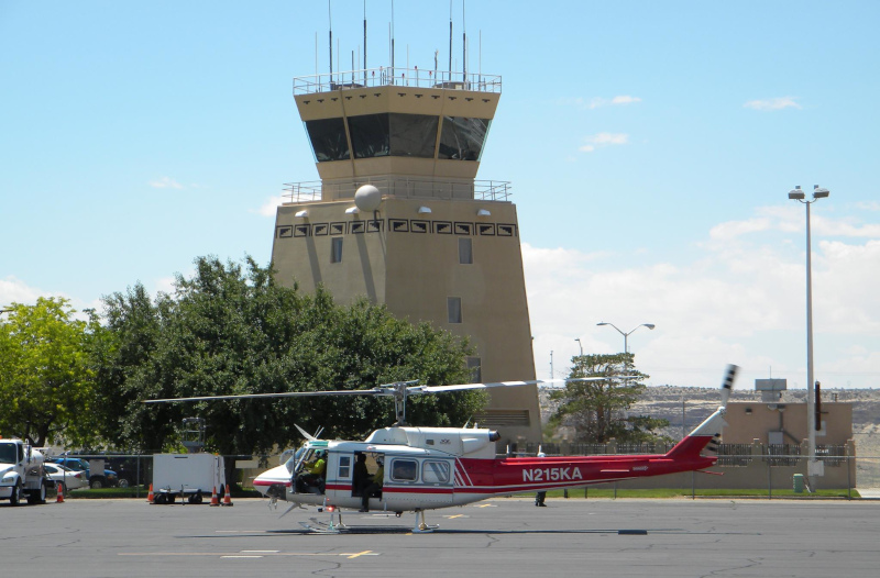 Four Corners Regional Airport helicopter in front of the control tower.