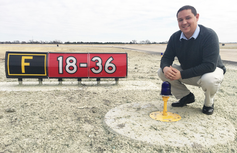 Mesquite Metro Airport General Manager, Eric Pratt with the new taxiway lights