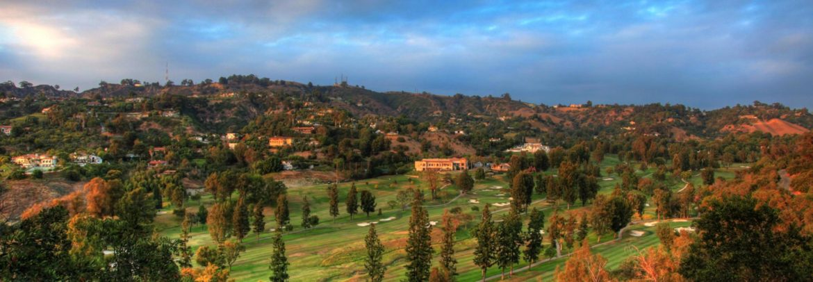 La Habra, California landscape with scattered building, hills and trees.