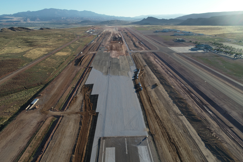 St. George Regional Airport runway under construction.