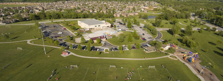 Nixa, Missouri community center aerial view.