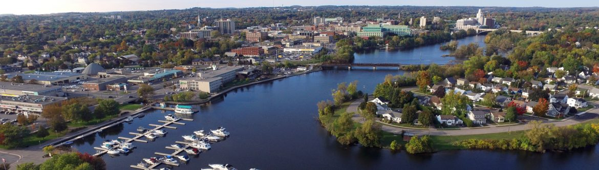 Peterborough, Ontario downtown aerial view.