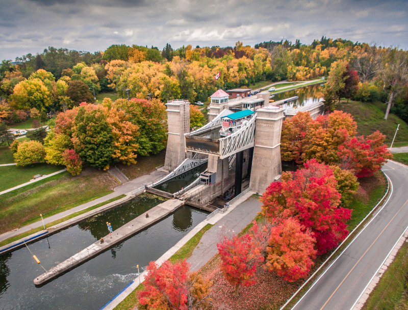 Peterborough, Ontario PK Tourism Lift Lock in the fall.