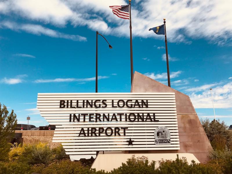 Billings Logan International Airport entrance sign.
