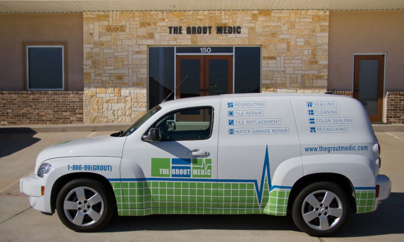 The Grout Medic van with branding.