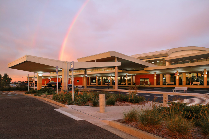 The Kalamazoo / Battle Creek International Airport terminal with a rainbow.
