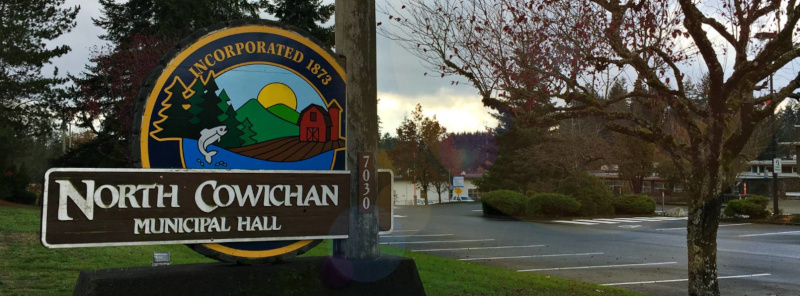 North Cowichan, British Columbia Municipal Hall sign.