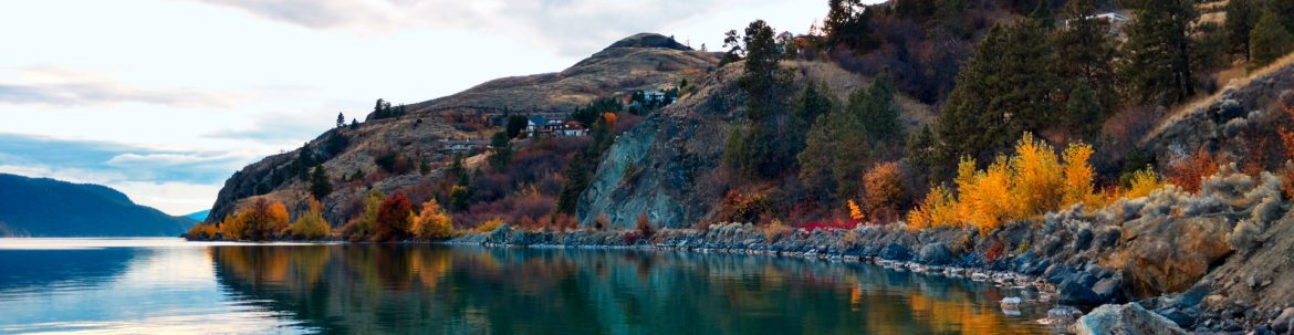 Regional District of North Okanagan, British Columbia scenic fall view of water and mountain by Heide Roseberry