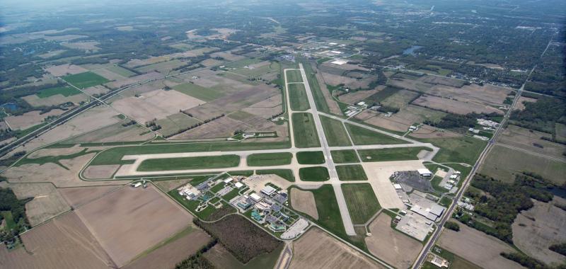 Terre Haute Regional Airport aerial view of runway.