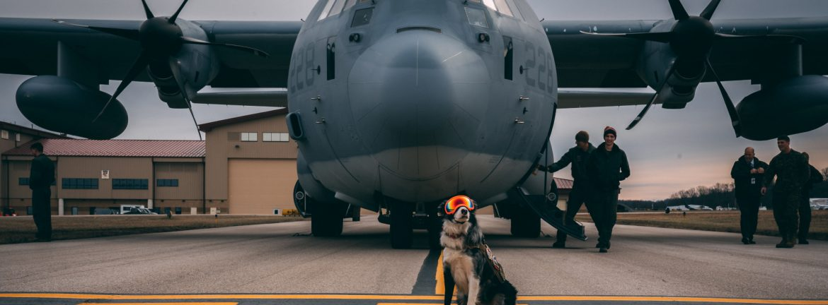 Yeager Airport dog in front of military plane on the runway.