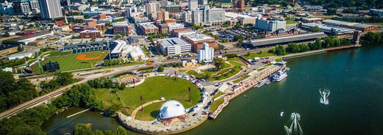 Montgomery, Alabama aerial view riverfront.