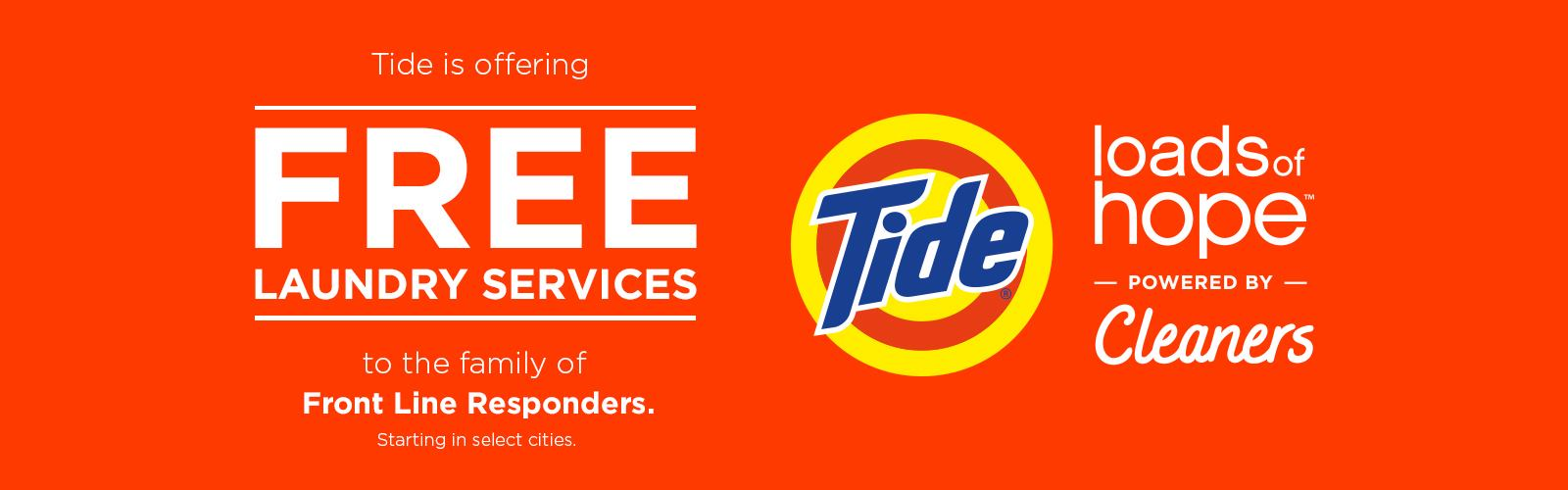 Tide Cleaner Project Hope offering free laundry services to first responders.
