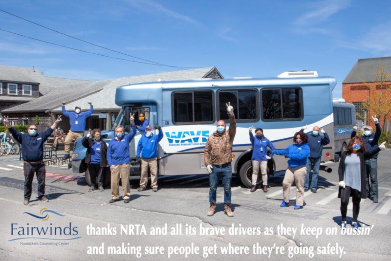 NRTA / Nantucket Regional Transit Authority THE WAVE bus and covid message.