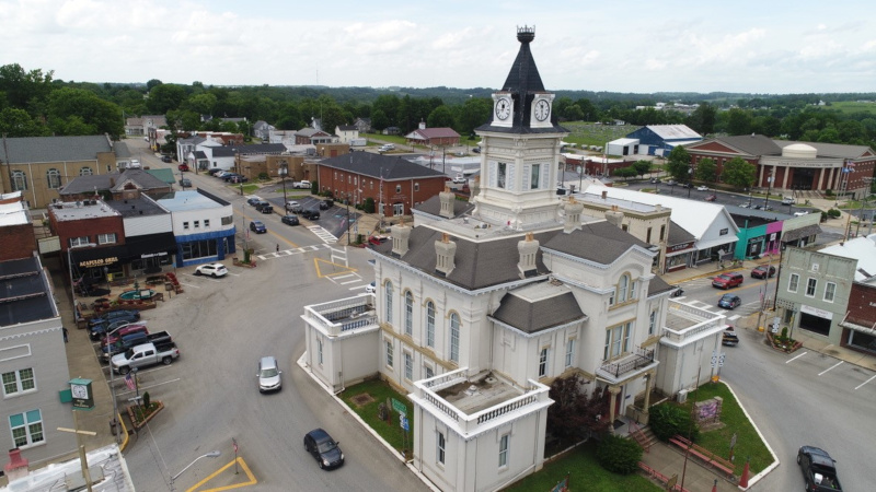 Adair County, Kentucky aerial view of the courthouse.