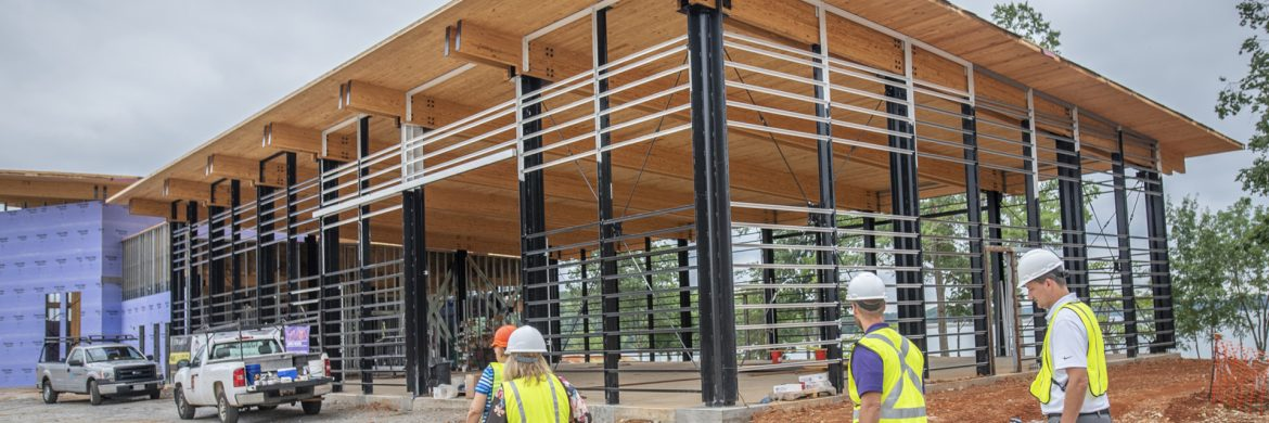 Clemson University professor Patricia Layton, director of the Wood Utilization + Design Institue, gave a tour of Clemson's new Outdoor Education Center at the Snow Family Outdoor Fitness and Wellness center on the shore of Lake Hartwell, June 18, 2019. (Photo by Ken Scar)