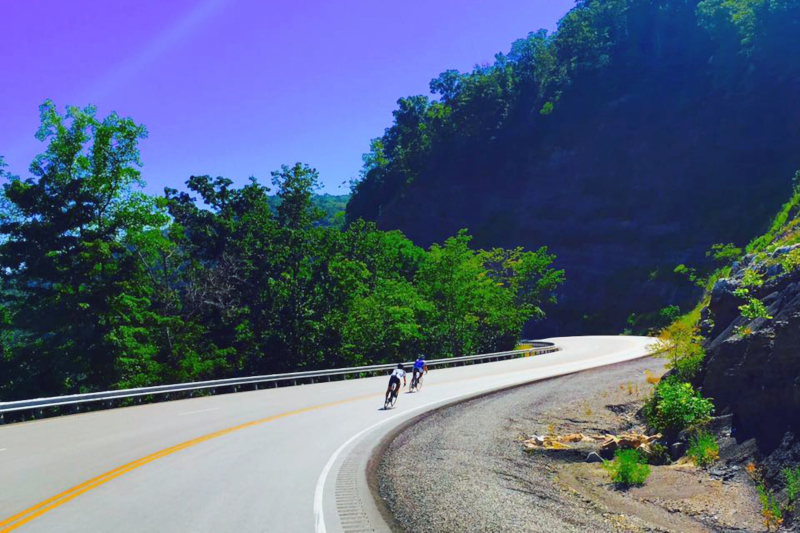 Letcher County, Kentucky bike riders on mountain road.