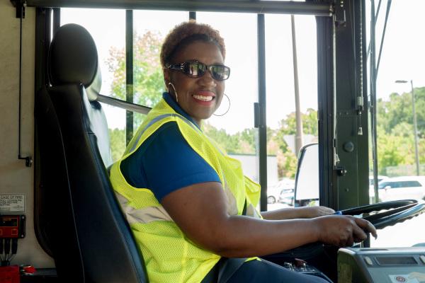 GoDurham bus operator at the wheel
